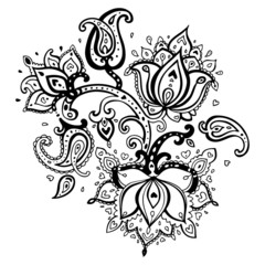 Lotus. Hand Drawn Paisley ornament.