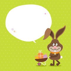 Bunny Wheelbarrow Speech Bubble Green