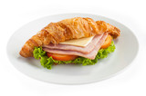 croissant ham cheese morning Dish