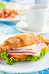 croissant ham cheese breakfast