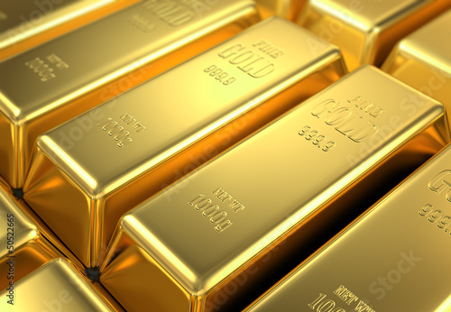 stock of gold, 3d render