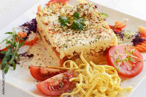 Layered vegetarian pasta