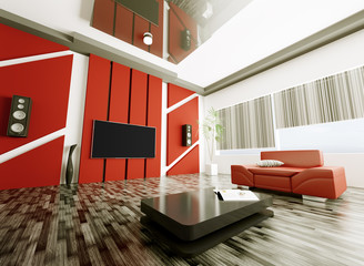 Modern living room with lcd interior 3d
