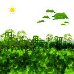 green eco town illustration