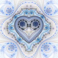 Clockwork valentine's day motive, fractal heart