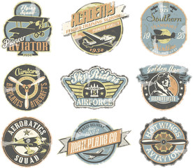 Grunge aviation badges collection in retro style
