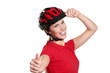 young woman with a bike helmet