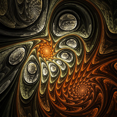 Abstraction of connection, a fractal sun, digital art