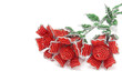 Three large red beaded roses