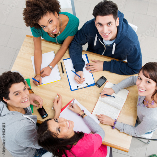 Leinwanddruck Bild Happy Friends Studying Together