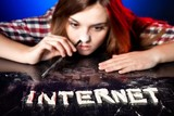 Woman snorting cocaine or amphetamines, internet addiction