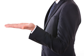 Businessman showing empty hand.