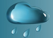 glass cloud and rain drops on a blue background