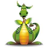 Dragon Funny Cartoon Character-Drago Buffo Fumetto-Vector