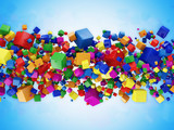 Abstract Illustration of Colorful Cubes on blue background