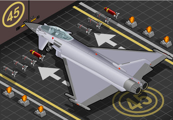 Isometric Eurofighter Landed in Rear View