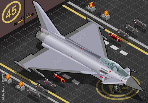 Tuinposter Militair Isometric Eurofighter Landed in Front View