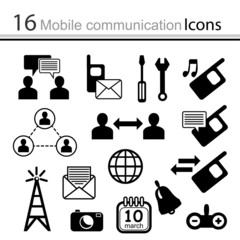 Set of icons mobile communication (vector)