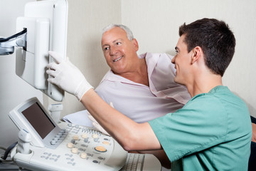 Patient Looking At Ultrasound Machine