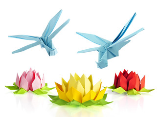 origami blue dragonfly and lotus