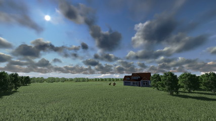 House on green meadow and horses, time lapse