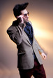 fashion man model  posing dramatic - intentional motion blur