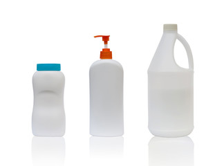 Set clean blank white plastic bottle