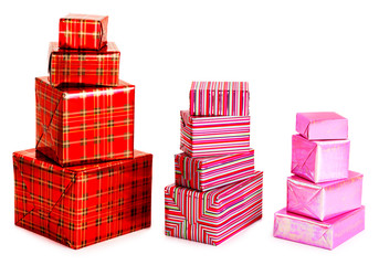 A selection of colorful presents on a white background