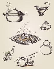 Vintage hand drawn pasta