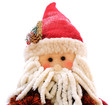 A Santa Claus puppet on a white background