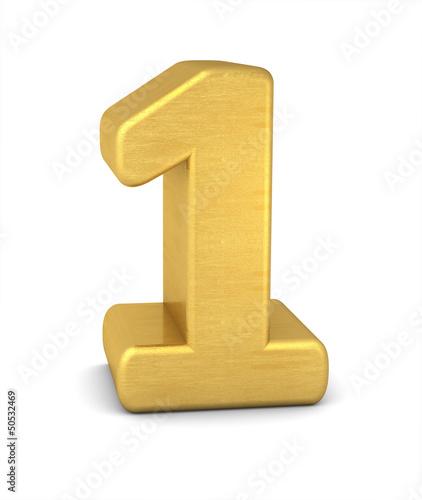 zahl cipher 1 gold vertikal