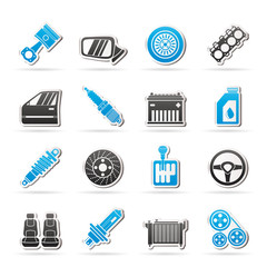Detailed car parts icons - vector icon set