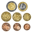 A set of well worn Euro coins on a white background