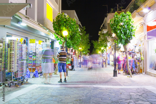 Streets of Agios Nikolaos town at night