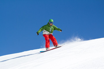 Snowboarder red & green