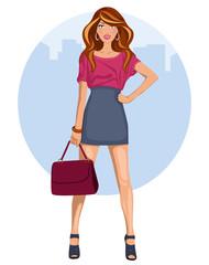 Mujer joven con minifalda y tacones