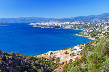 Mirabello Bay with Agios Nikolaos town on Crete, Greece