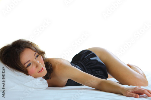 sexy woman laying on her stomach