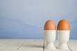 Fresh Brown Eggs in Cups
