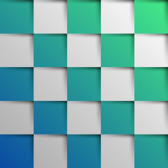 3d blue and green oblique squares in square background © mdesignstudio