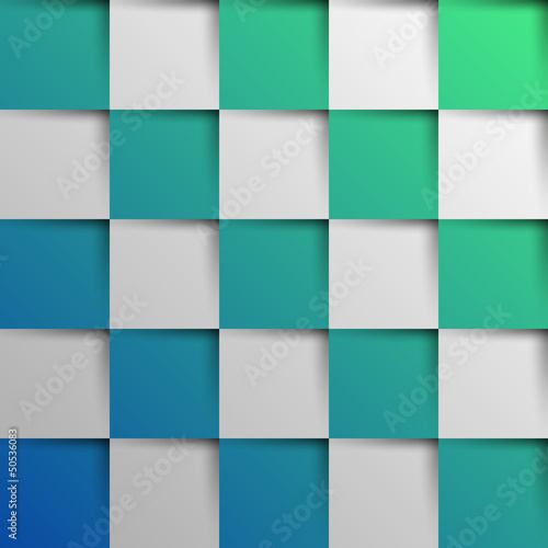 3d blue and green oblique squares in square background