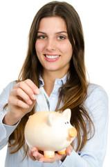 mädchen beim geld sparen