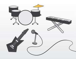 Various band instruments for a concert or recording.