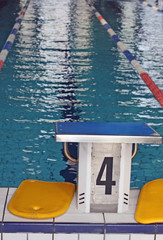 Olympic swimming pool with lanes bowbefore the race