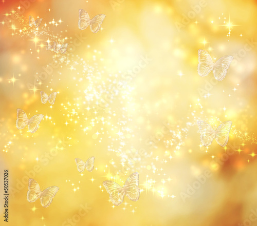 Butterfly Yellow Lights Background