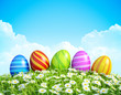 Easter Background with decorated Easter eggs.