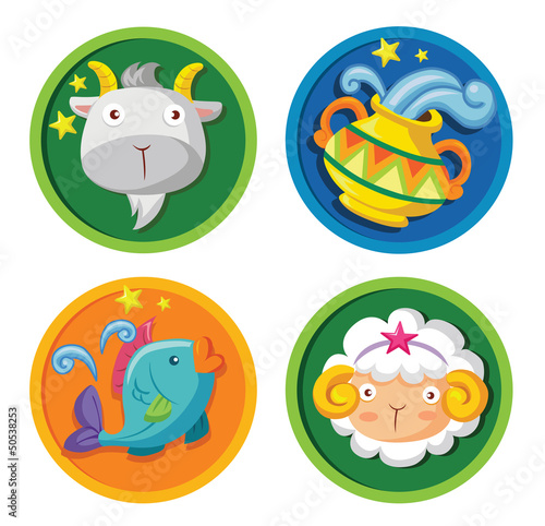 Vector set of cartoon zodiac star sign