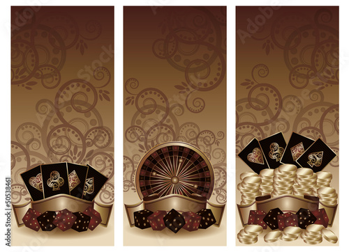 Set vintage casino banners, vector illustration