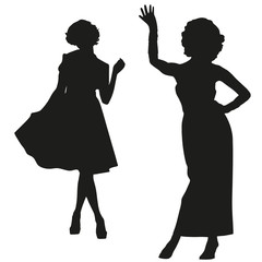 Silhouettes of retro women