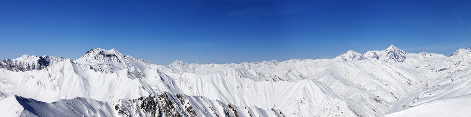 Panorama of snow winter mountains